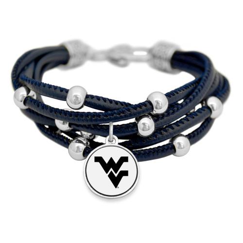 West Virginia Mountaineers Lindy Leather Bracelet