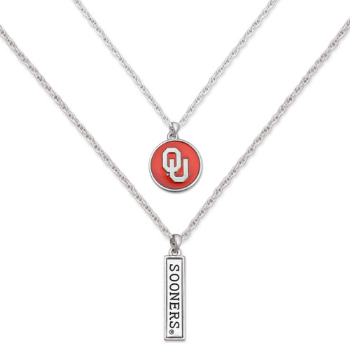 Oklahoma Sooners Double Down Necklace