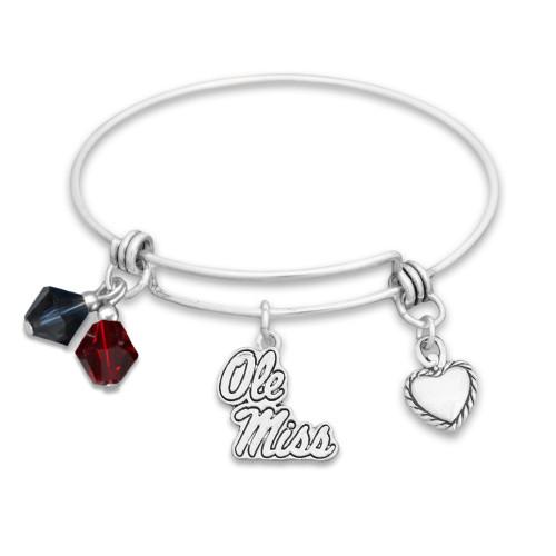 Ole Miss Rebels Haute Wire Memory Wire Bracelet