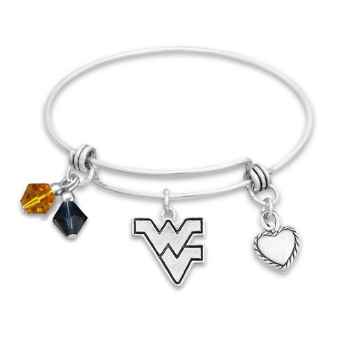 West Virginia Mountaineers Haute Wire Memory Wire Bracelet