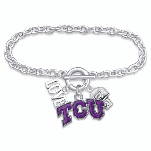 TCU Horned Frogs Slam Dunk Bracelet-TCU56851