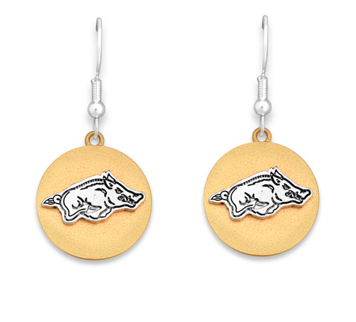 Arkansas Razorbacks Two Tone Medallion Earrings