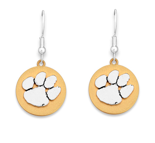 Clemson Tigers Two Tone Medallion Earrings