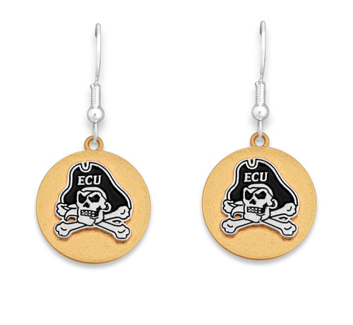 East Carolina Pirates Two Tone Medallion Earrings