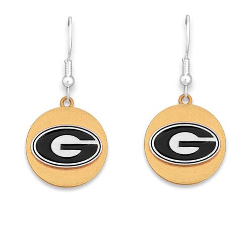 Georgia Bulldogs Two Tone Medallion Earrings