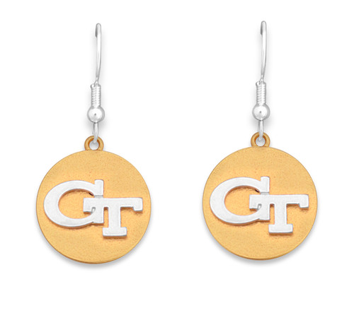 Georgia Tech Yellow Jackets Two Tone Medallion Earrings