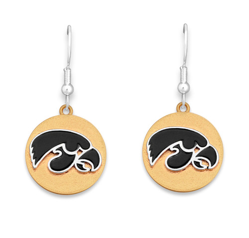 Iowa Hawkeyes Two Tone Medallion Earrings