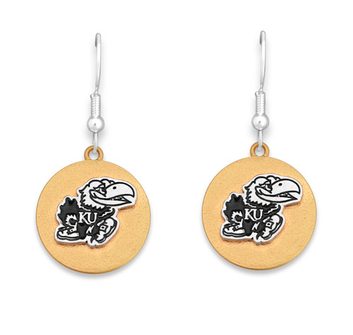 Kansas Jayhawks Two Tone Medallion Earrings
