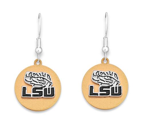LSU Tigers Two Tone Medallion Earrings