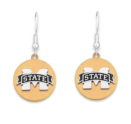 Mississippi State Bulldogs Two Tone Medallion Earrings