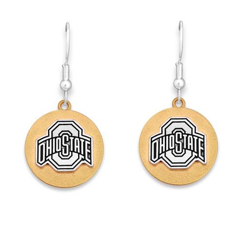 Ohio State Buckeyes Two Tone Medallion Earrings