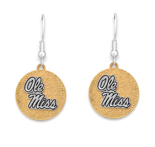 Ole Miss Rebels Two Tone Medallion Earrings