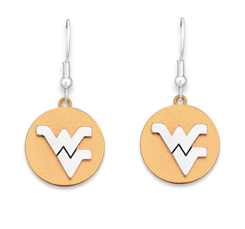West Virginia Mountaineers Two Tone Medallion Earrings