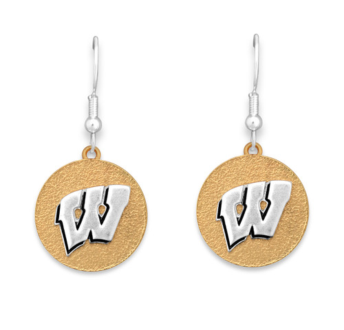 Wisconsin Badgers Two Tone Medallion Earrings