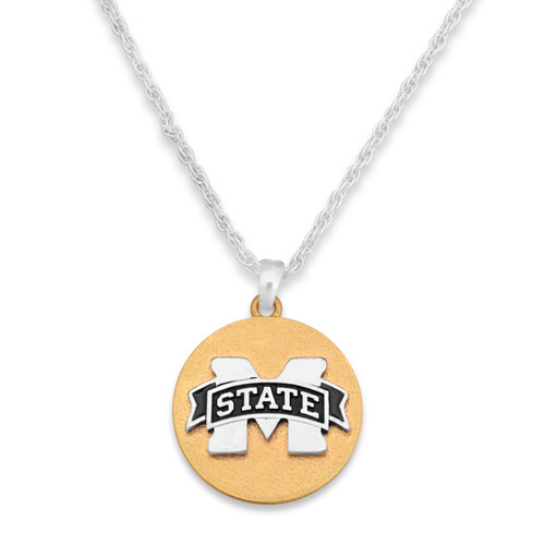 Mississippi State Bulldogs Two Tone Medallion Necklace