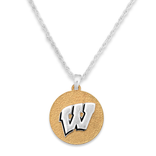 Wisconsin Badgers Two Tone Medallion Necklace