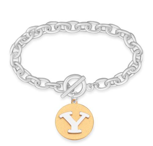 BYU Cougars Two Tone Medallion Bracelet