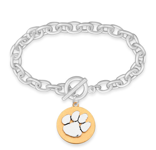Clemson Tigers Two Tone Medallion Bracelet