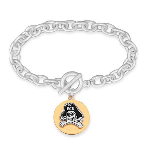 East Carolina Pirates Two Tone Medallion Bracelet