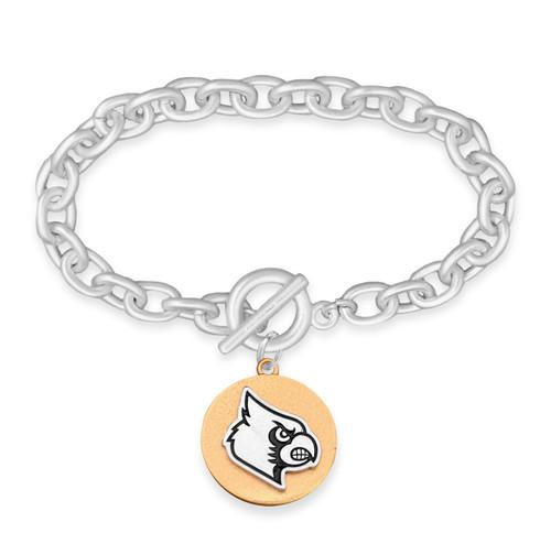 Louisville Cardinals Two Tone Medallion Bracelet