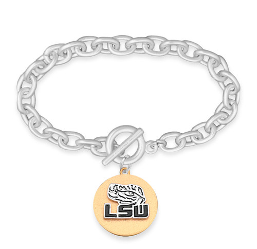 LSU Tigers Two Tone Medallion Bracelet