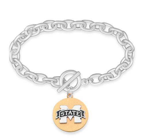 Mississippi State Bulldogs Two Tone Medallion Bracelet