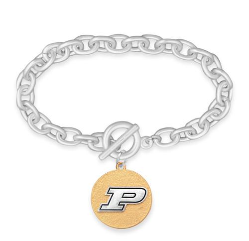 Purdue Boilermakers Two Tone Medallion Bracelet