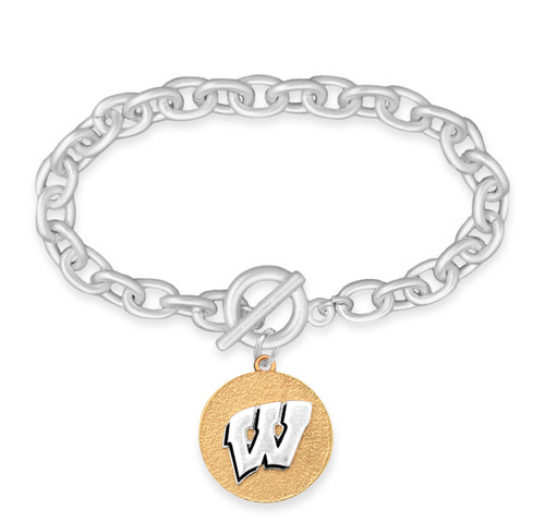Wisconsin Badgers Two Tone Medallion Bracelet