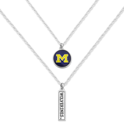 Michigan Wolverines Double Down Necklace
