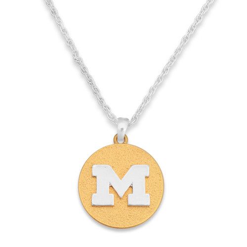 Michigan Wolverines Two Tone Medallion Necklace