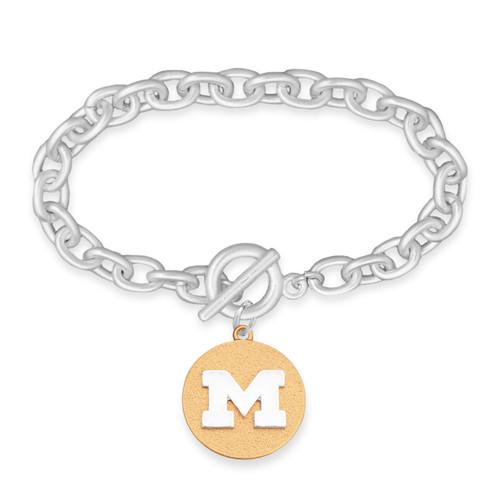 Michigan Wolverines Two Tone Medallion Bracelet