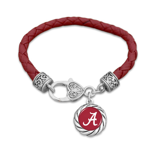 Alabama Crimson Tide Bracelet- Harvey Leather Twisted Rope