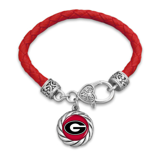 Georgia Bulldogs Bracelet- Harvey Leather Twisted Rope