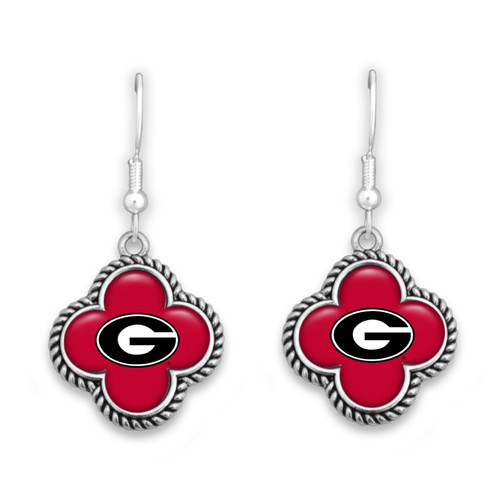 Georgia Bulldogs Quatrefoil Earrings