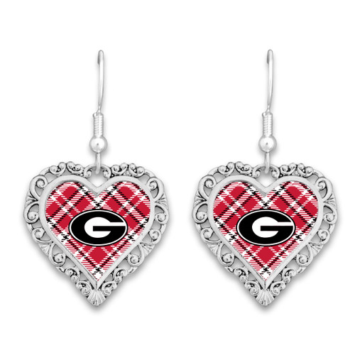 Georgia Bulldogs Frills Heart- Plaid  Earrings
