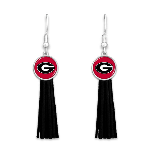 Georgia Bulldogs Long Tassel Dome Charm College Earrings