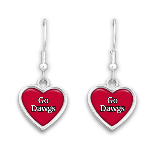 Georgia Bulldogs Spirit Slogan Heart Earrings