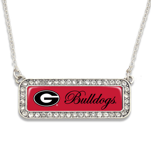 Georgia Bulldogs Necklace- Silver Crystal Nameplate