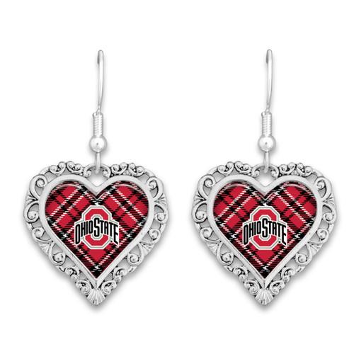 Ohio State Buckeyes Earrings- Plaid