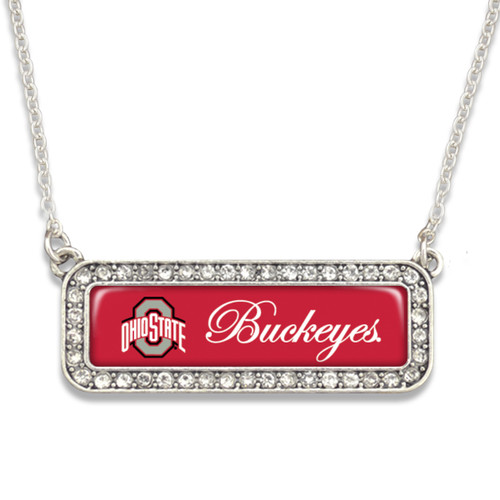 Ohio State Buckeyes Necklace- Silver Crystal Nameplate