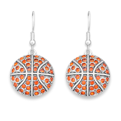 Crystal Basketball Earrings