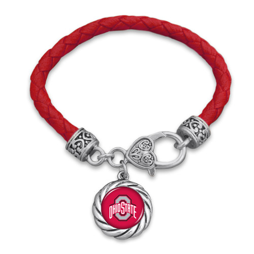 Ohio State Buckeyes Bracelet- Harvey Leather Twisted Rope