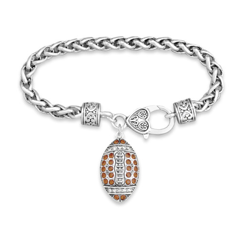 Crystal Football Bracelet- Braided Clasp