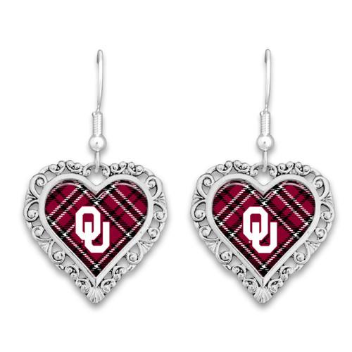 Oklahoma Sooners Earrings- Plaid