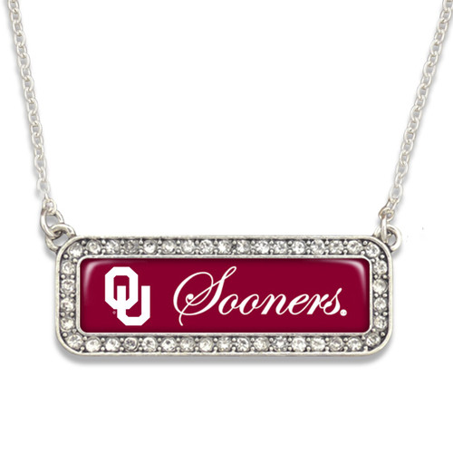 Oklahoma Sooners Necklace- Silver Crystal Nameplate