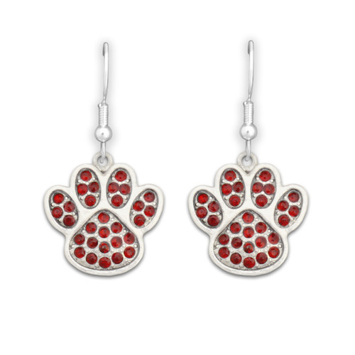 Team Spirit Jewelry- Crystal Paw Print Red- Earrings