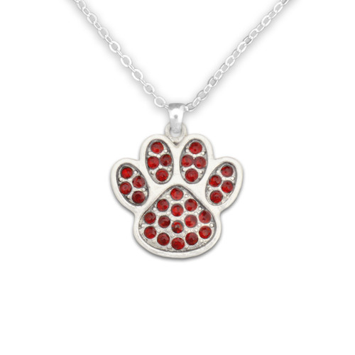 Team Spirit Jewelry- Crystal Paw Print Red- Necklace