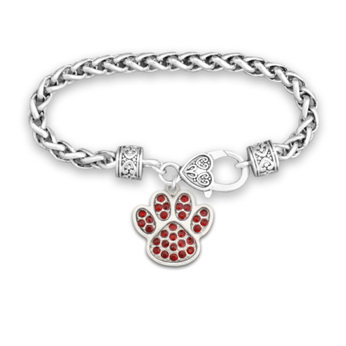 Team Spirit Jewelry- Crystal Paw Print Red- Bracelet