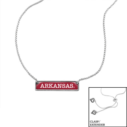 Arkansas Razorbacks Slider Bead Adjustable Necklace- Nameplate