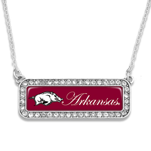 Arkansas Razorbacks Necklace- Silver Crystal Nameplate